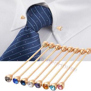 Men crystal gold copper collar bar pin shirt clip tie for Tie bar collar shirt