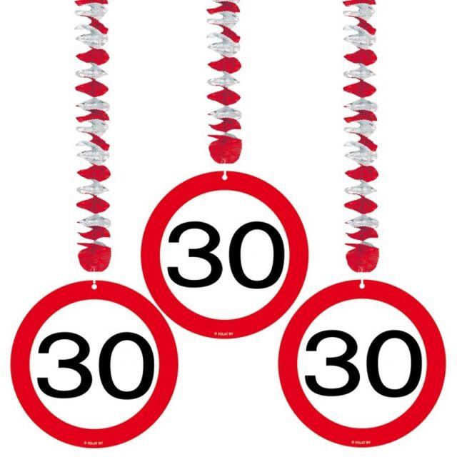 3 Rotorspiralen Verkehrsschild 30 Geburtstag Deko Tischdeko Party Jubiläum