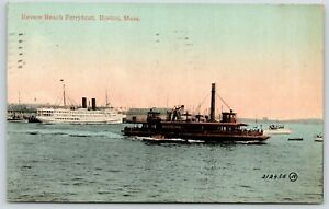 Boston-Massachusetts-034-Newtown-034-Revere-Beach-Ferry-Boat-Long-Steamboat-1913-PC