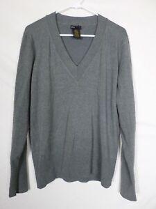 Grace-Elements-Womens-Sweater-Size-XXL-2XL-Gray-V-Neck-Acrylic-Stretch