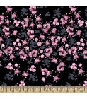 DISNEY MICKEY MOUSE FLORAL PRINT ON BLACK 100% COTTON FABRIC BY THE 1/2  YARD
