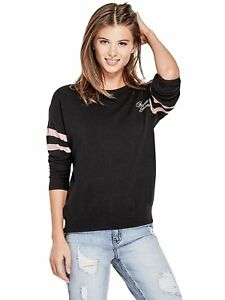 GUESS-Sweater-Women-s-NEW-Black-Varsity-Logo-Soft-amp-Slouchy-Pullover-Sweater-S