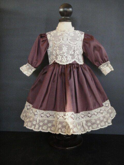 Vestido de Seda Ciruela Muñecas 42 Cm. Antique Doll - G. Bravot Francia