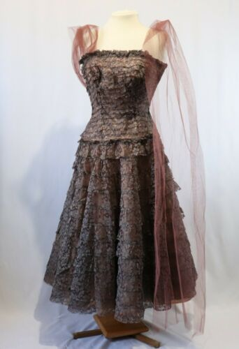 Vintage 50s Brown Lace Prom Dress Gown
