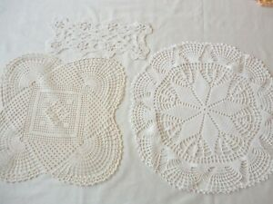 3-Vintage-1950-039-s-Hand-Crochet-Doilies-Assorted-Sizes