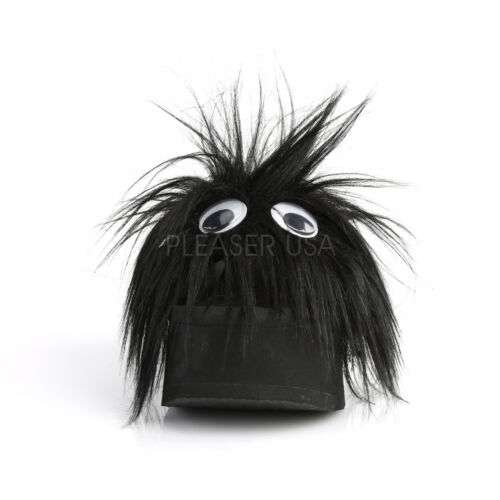 DEMONIA FUNN31//BFUR Womens Goth Punk Black Furry Googly Eyes Platform Sandals