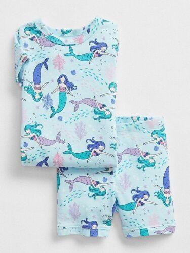 Baby Gap girls 6 12 18 24 Months 3 4 Years Mermaid PJ SET Summer Blue Short