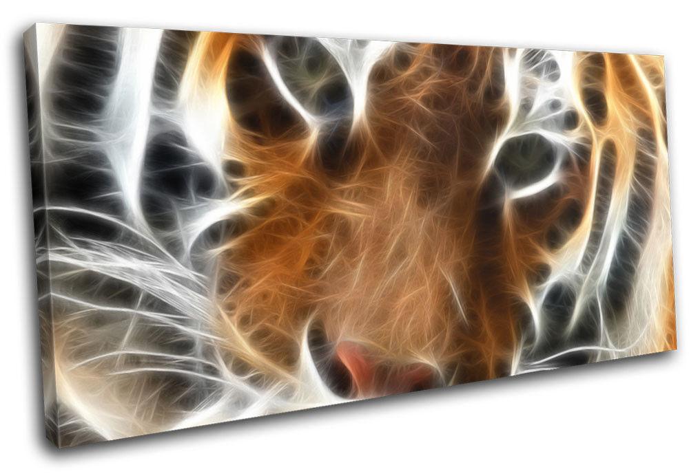 Tiger Fractal arancia Animals SINGLE TELA parete arte foto stampa