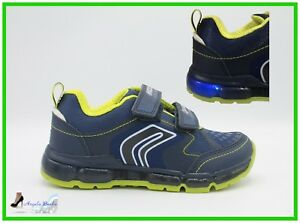 Dettagli su Geox Scarpe da Bambino Sneakers ragazzo junior con luci e strappi blu Android