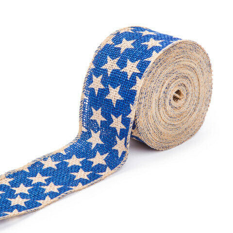 Darice® Patriotic Blue Star Burlap Ribbon 2-1//2 inches x 25 feet