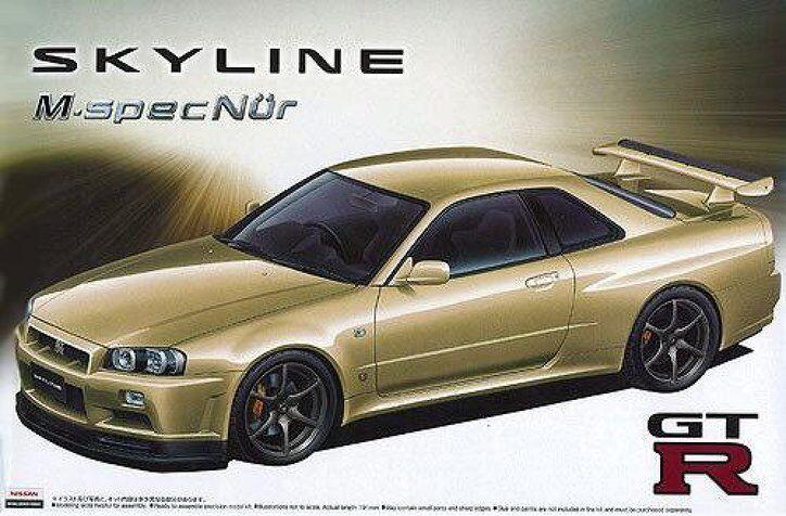 1 24 Aoshima Nissan BNR34 Skyline GT-R M-SpecNur (NEW)