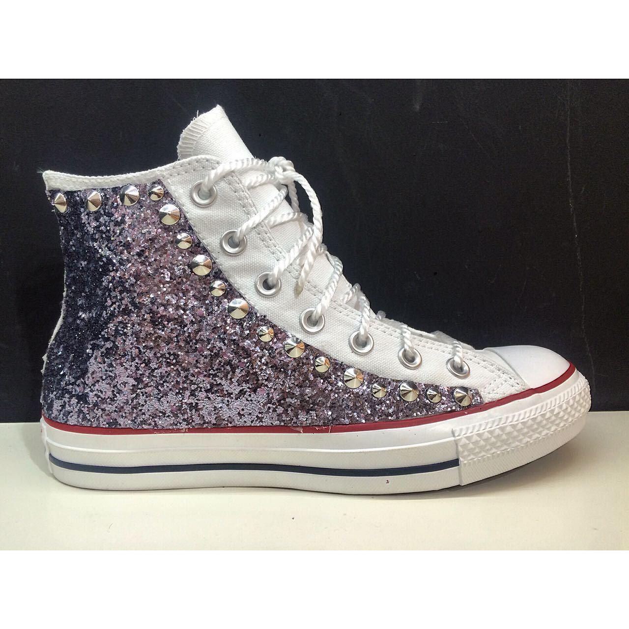 converse all star borchiate con borchie argento e glitter argento borchie 8cf5a8