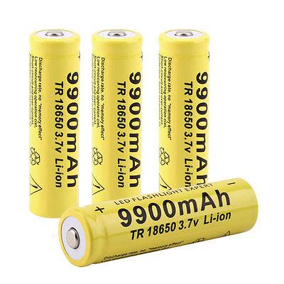 4pcs 3.7V 18650 9900mah Li-ion Rechargeable Battery For LED Flashlight Torch MP