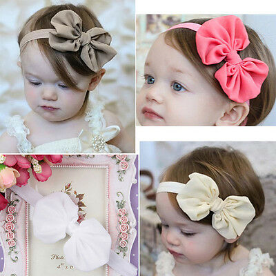 5pcs Kids Baby Girls Toddler Chiffon Bowknot Headband Hair Band Accessories