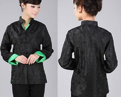 Double Face Chinese Women/'s Silk Jacket Coat Size 6 8 10 12 14 16 Burgundy//black