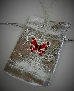 """JEWELRY For 18/"""" American Girl Doll Red Butterfly Necklace Pouch Accessories"""
