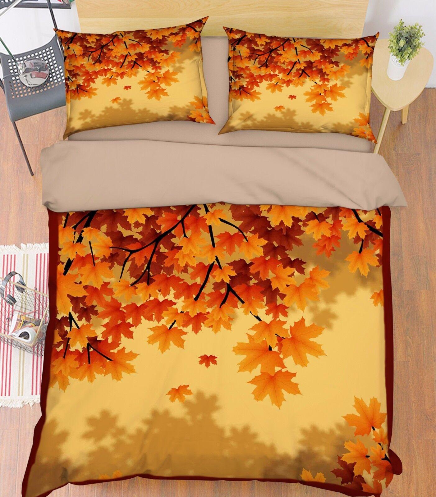 3D Ahornblätter 902 Bett Kissenbezüge steppen Duvet Decken Set Single DE Kyra