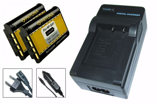 Cargador 2 x patonas para batería para Sony x3000 4k action cam fdr-x3000r - np-bx1