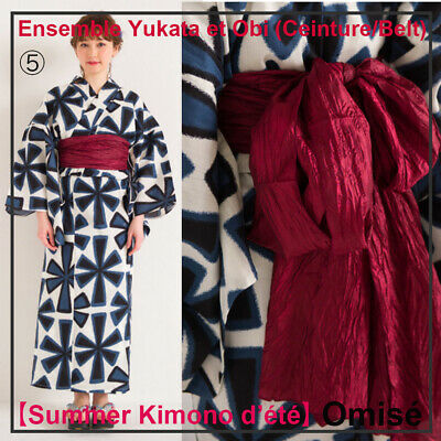 Ensemble japanese Yukata & Obi (ceinture/belt)! One Size 152~168cm Made In Japan Lasciamo Che Le Nostre Merci Vadano Al Mondo