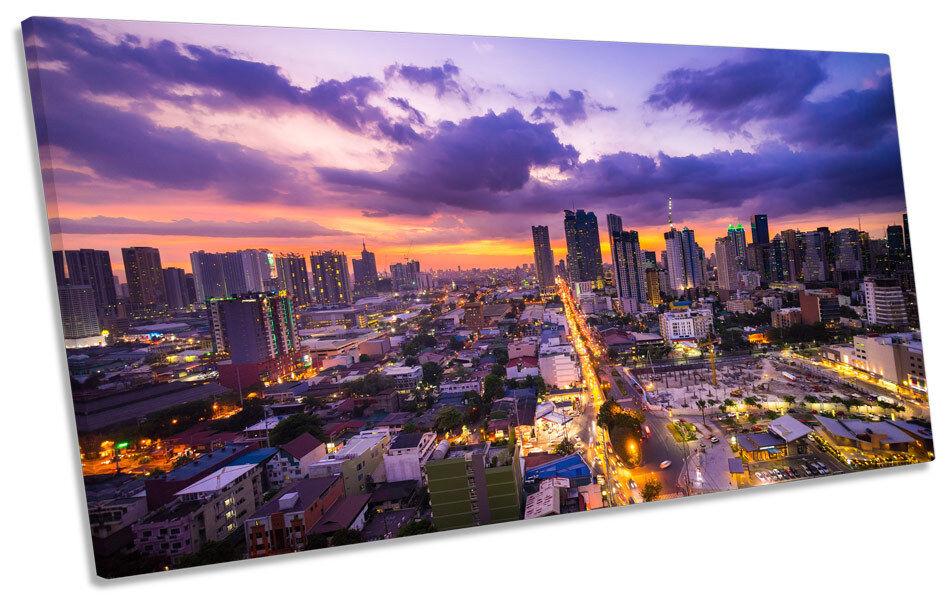 Manila Filippine Asia Skyline Tela Art Print Print Print Panoramica foto 547137