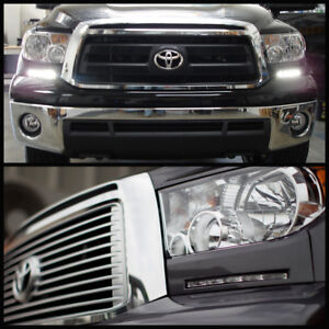 Fits Silver 07-13 Tundra Sequoia Bumper Headlights Panel DRL Smd LED Fog Lights