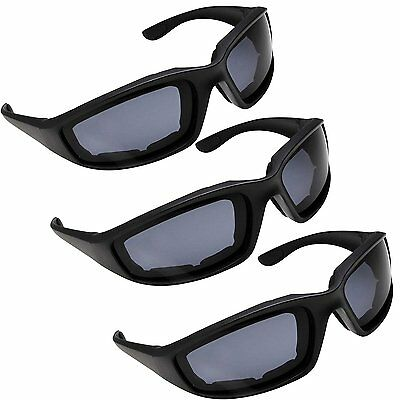 3 PAIR MOTORCYCLE RIDING GLASSES SMOKE CLEAR YELLOW FOR HARLEY DAVIDSON CHOPPERS