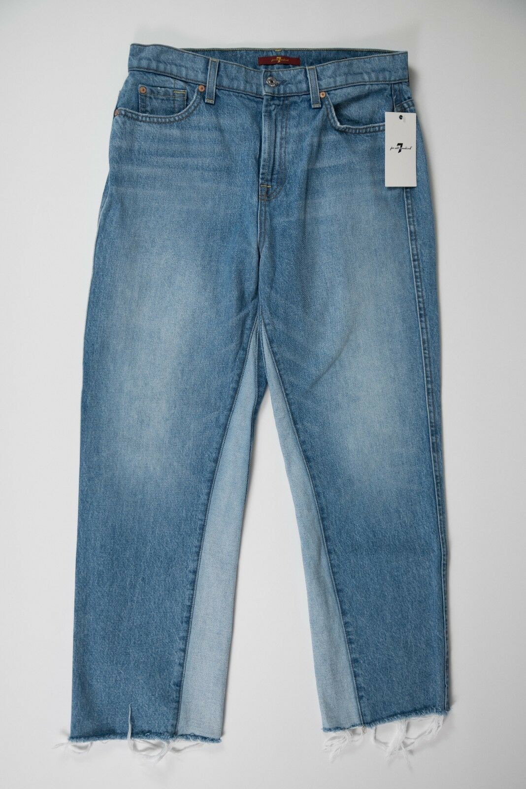 7 SEVEN FOR ALL MANKIND Two Tone Vented Cuff Flare Crop Jeans - size 28