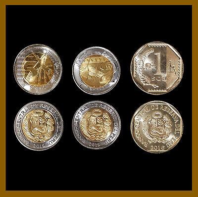 Peru set of 3 coins 1-5 soles 2016 UNC