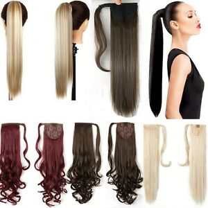 Uk Real Thick Clip In As Human Hair Extensions Pony Tail Wrap On