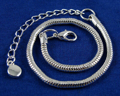 Lobster Clasp Silver Hollow Snake Chain Bracelets Fit European Charms Beads