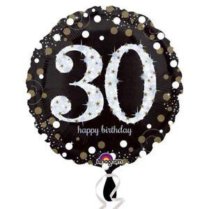 Image Is Loading Black Amp Gold Celebration 30th Birthday Foil Balloon