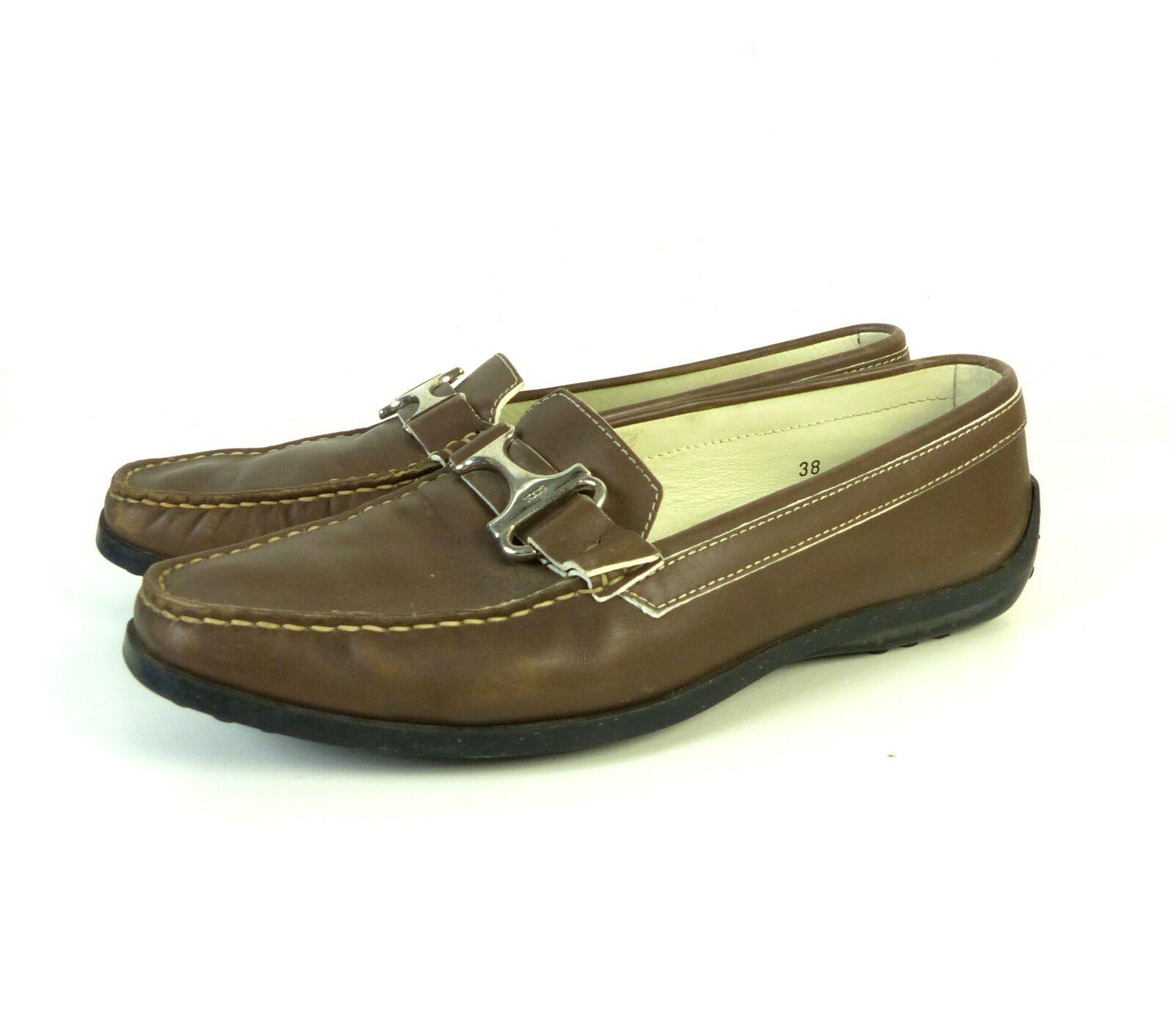 TOD's loafer mocassini ballerine MarroneeE PELLE scarpe Mis. EUR 38 (dw45)