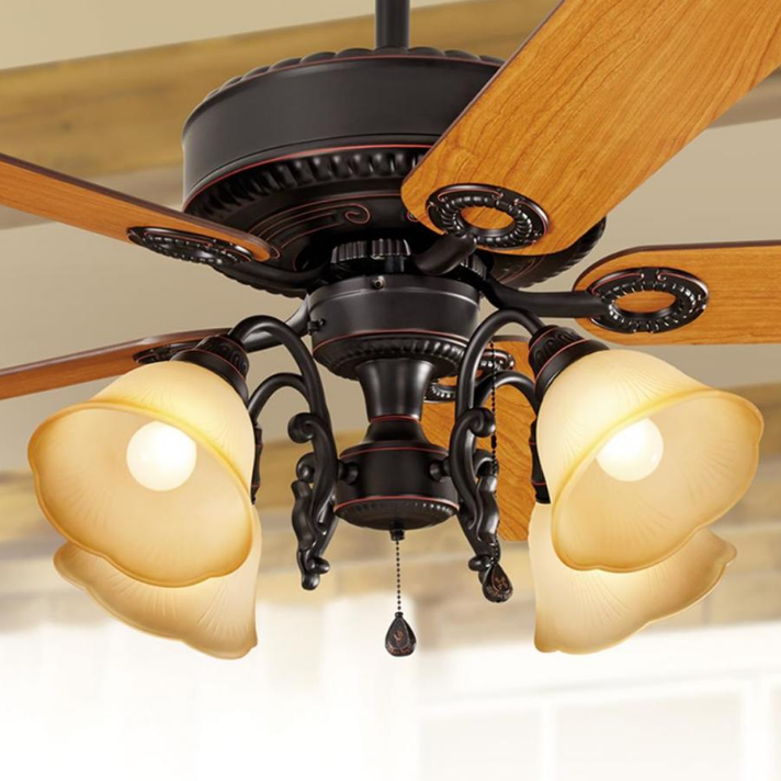 52  Ceiling Fan Unique Brushed Bronze Fixture Fancy Branch Light Flush Mt Option
