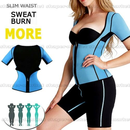 Details about  /Women/'s Neoprene Sauna Vest with Sleeves Gym Hot Sweat Suit Weight Loss Fajas