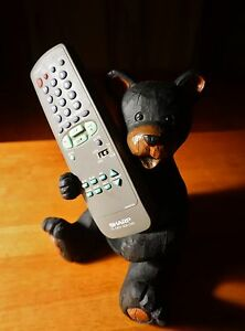 Faux-Wood-Carved-Black-Bear-Remote-Control-Holder-Caddy-Cabin-Lodge-Home-Decor