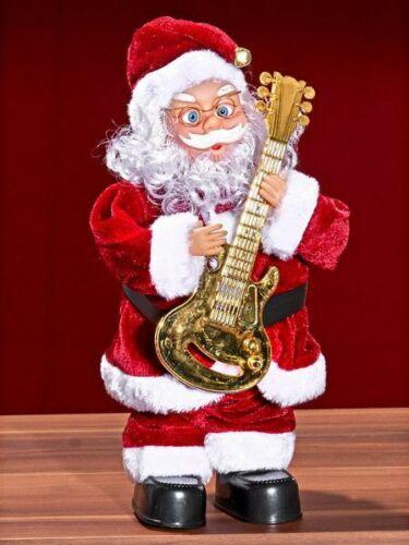 32cm mit Musik und Bewegung Weihnachtsmann mit Gitarre neu