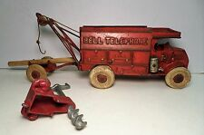 """Antique 1930s Hubley """"Red"""" Cast Iron Bell Telephone Truck 10"""" l."""