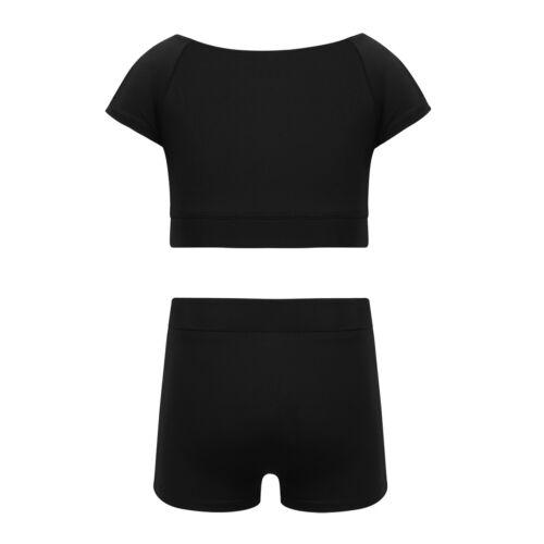 2PCS Kids Girls Tankini Outfit Printed Bottoms Set Ballet Danceware Gym Workout