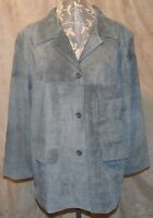 Qvc Jessica Holbrook So Soft Washable Suede Fully Lined Coat Dusty Blue 2x
