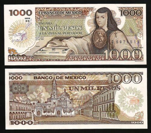 UNC P-85 Serie XZ Mexico 1000 Pesos 1985