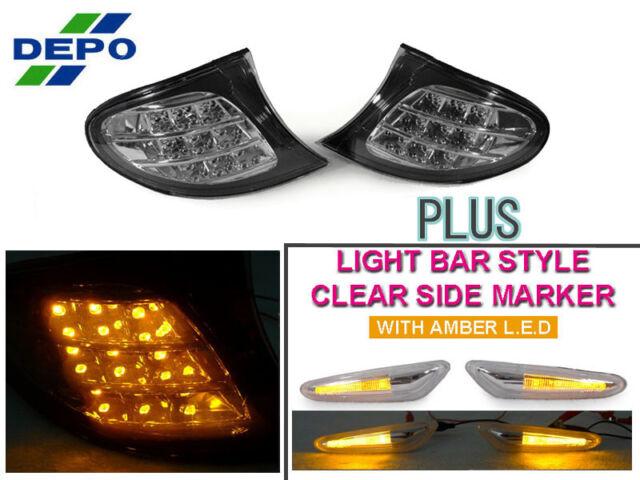 DEPO Amber LED Clear Corner+LED Side Marker Lamp For 02-05 BMW E46 3Series 4D/5D