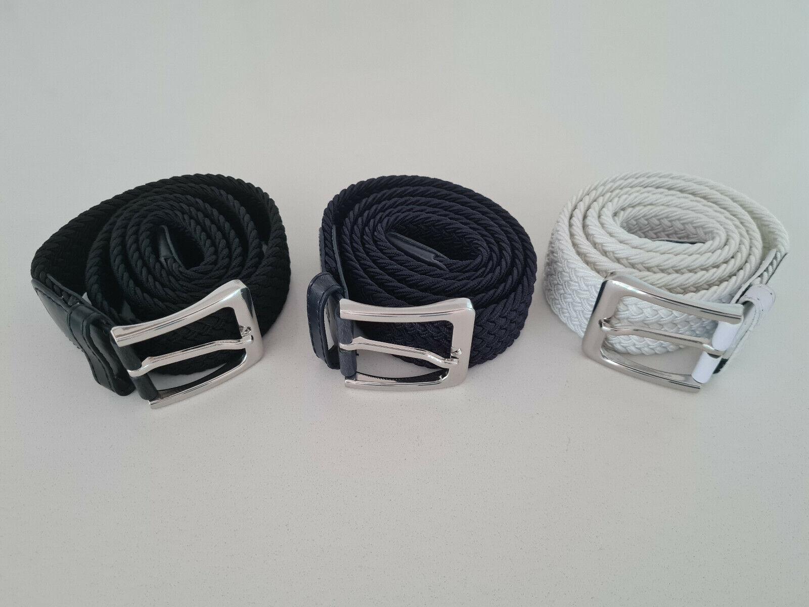 3 Flechtgürtel Black, White and Dark Blue, 100cm