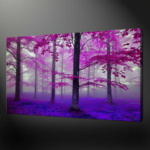 MISTY PURPLE FOREST LANDSCAPE CANVAS WALL ART PRINT PICTURE READY TO HANG