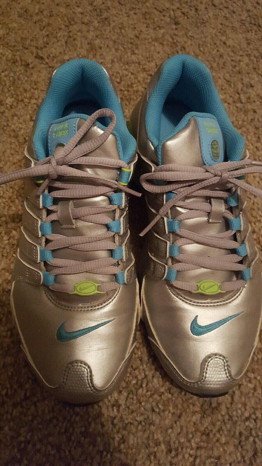 Womens Nike Shox NZ Sneakers Silver bluee Lime worn 2 times.  LN beautiful