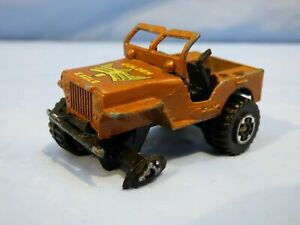 Vintage-1981-Matchbox-4x4-Jeep-Willys-Aguila-Real-Juguete-Diecast-Modelo-Coche-Marron
