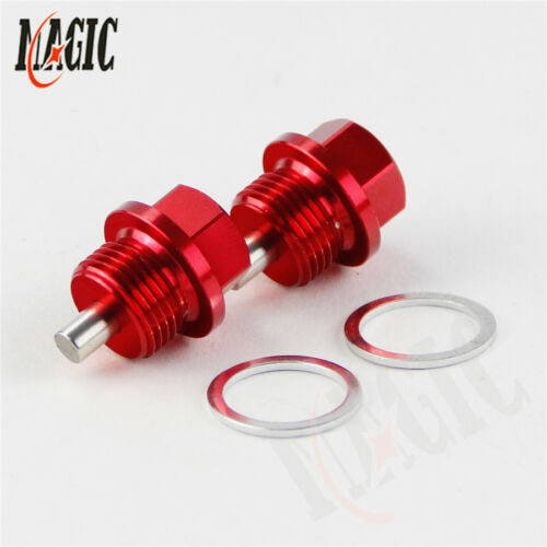 2PCS M18x1.5 Magnetic Engine Oil Pan Drain Filter Adsorb Plug Bolt Washer RED