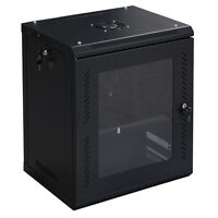Goplus 12u Wall Mount Network Server Data Cabinet Enclosure Rack Glass Door Lock on sale