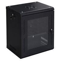 Goplus 12u Wall Mount Network Server Data Cabinet Enclosure Rack Glass Door Lock on sale