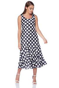 Roman Originals Women/'s Blue Chevron Maxi Dress Sizes 10-20
