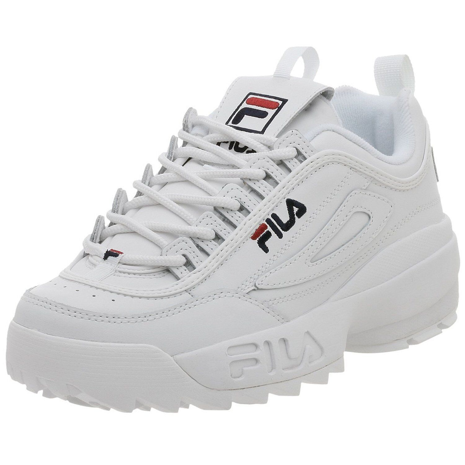 Men Fila Disruptor II Synthetic Fw01655-111 White/Navy 100% Authentic Brand New
